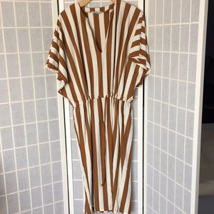 ZARA TRAFALUC Striped Midi Dress